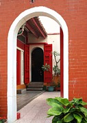 Red Bricks Prints - Traditional Chinese Courtyard Print by Yali Shi