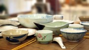 Wooden Bowls Prints - Traditional Chinese Dinner Table Print by Yali Shi