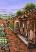 Rows Painting Posters - Traditional Chinese Farmhouses Poster by Evelyn Sichrovsky