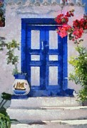 Entrance Door Painting Framed Prints - Traditional door in Hydra island Framed Print by George Atsametakis