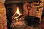Fireplace Prints - Traditional English Pub Fireplace Print by Andy Smy