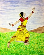 Soul-sisters Painting Posters - Traditional Indian Dancer Poster by Vamsi Maganti