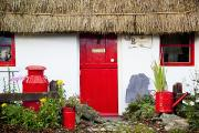 Front Yard Framed Prints - Traditional Irish Cottage With A Red Framed Print by Peter Zoeller