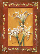 Green Painting Framed Prints - Traditional Lily 2 Framed Print by Debbie DeWitt