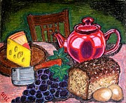Teapot Painting Originals - Traditional supper by Ulrike Proctor