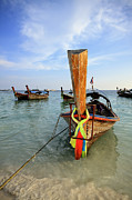 Nautical Digital Art Originals - Traditional Thai Long-tail boat on the beach by Anek Suwannaphoom