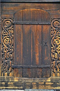 Entrance Door Framed Prints - Traditional Wood Carvings Framed Print by Heiko Koehrer-Wagner