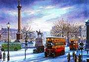 Streetscene Paintings - Trafalgar Square 1938 by Mike  Jeffries