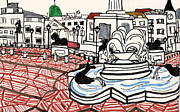 Europe Drawings - Trafalgar Square by Katie Jurkiewicz