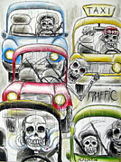 Dia De Los Muertos Framed Prints - Traffic Framed Print by Heather Calderon