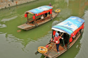 Fishing Boats Prints - Traffic in Qibao - Shanghais local ancient water town Print by Christine Till