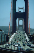 Sausalito Prints - Traffic on Golden Gate Bridge Print by Carl Purcell