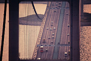 Hong Kong Acrylic Prints - Traffic On Tsing Ma Bridge, Hong Kong, China Acrylic Print by Yiu Yu Hoi