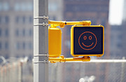 Smiley Face Posters - Traffic Sign With Smiley Face Poster by Richard Newstead