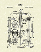 Control Drawings Posters - Traffic Signal 1922 Patent Art Poster by Prior Art Design