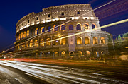 Road Travel Framed Prints - Traffic Trails And Collosseum (colosseo) At Night From Via Dei Fori Imperiali Framed Print by Guylain Doyle
