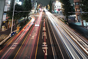 Tail Photos - Traffic Trails At Night, Tokyo by Spiraldelight