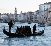 Travel Pyrography Prints - Traghetto . Gran Canal. Venice Print by Bernard Jaubert