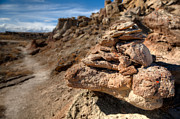 Cliff Photo Originals - Trail Cairn At Gooseberry Badlands Wyoming by Steve Gadomski