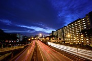 Light Trail Art - Trail Lights Passing On Road At Night by HermanT@Photography