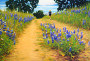 Runner Pastels Posters - Trail Runner and Lupines Poster by Anastasia Nelson