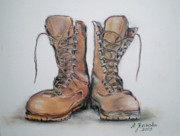 Army Drawings Originals - Trail shoes by Agnieszka Jezierska-Drutel
