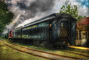 Vintage River Scenes Prints - Train - Car - Ready to Roll Print by Mike Savad