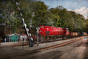 Shed Metal Prints - Train - Diesel - Look out for the Locomotive  Metal Print by Mike Savad