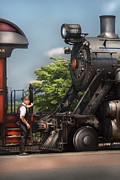 Conductor Prints - Train - Engine - Alllll Aboard Print by Mike Savad