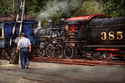 Train Crossing Prints - Train - Steam - The conductors job  Print by Mike Savad