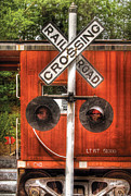 Childs Room Prints - Train - Yard - Railroad Crossing Print by Mike Savad