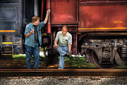 Talking Metal Prints - Train - Yard - Shootin the Breeze Metal Print by Mike Savad