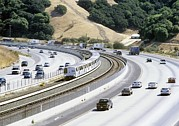American Automobiles Metal Prints - Train And Motorway, California, Usa Metal Print by Martin Bond