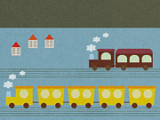 Building Exterior Digital Art - Train And Truck Moving Side By Side by Miyako Matsuda