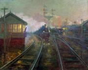 Train Tracks Painting Framed Prints - Train at Night Framed Print by Lionel Walden