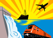 Woodcut Posters - Train Boat Plane And Dam Poster by Aloysius Patrimonio