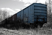 Industrial Mixed Media Prints - Train Boxcars Print by Ms Judi