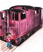 Caboose Drawings Prints - Train child caboose Print by Scott Smith