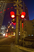 Chicago In Motion Posters - Train crossing lights at dusk Poster by Sven Brogren