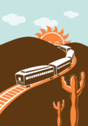 Train Digital Art Posters - Train desert cactus Poster by Aloysius Patrimonio