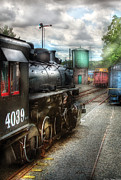Hdr Photography Prints - Train - Engine - 4039 - In the train yard  Print by Mike Savad