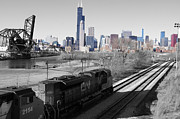 Chicago Skyline Pyrography Acrylic Prints - Train from 18th Street Acrylic Print by Kati Stutsman