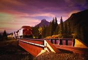 Pull Posters - Train Going Over A Bridge Banff Poster by Darren Greenwood