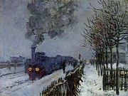 Impressionistic Paintings - Train in the Snow by Extrospection Art