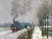 Snowfall Painting Posters - Train in the Snow or The Locomotive Poster by Claude Monet
