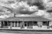 Historical Buildings Prints - Train Stop BW Print by James Bo Insogna
