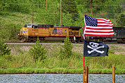 Trains Photos - Train the Flags by James Bo Insogna