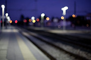 Soft Focus Art - Train Tracks At Night by Francesca Guadagnini