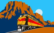Rural Digital Art Posters - Train traveling with canyon Poster by Aloysius Patrimonio