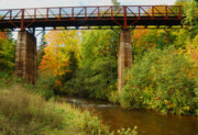 Colors Of Autumn Framed Prints - Train Trestle Framed Print by Michael Peychich